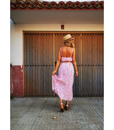 Vestido Hojas Coral